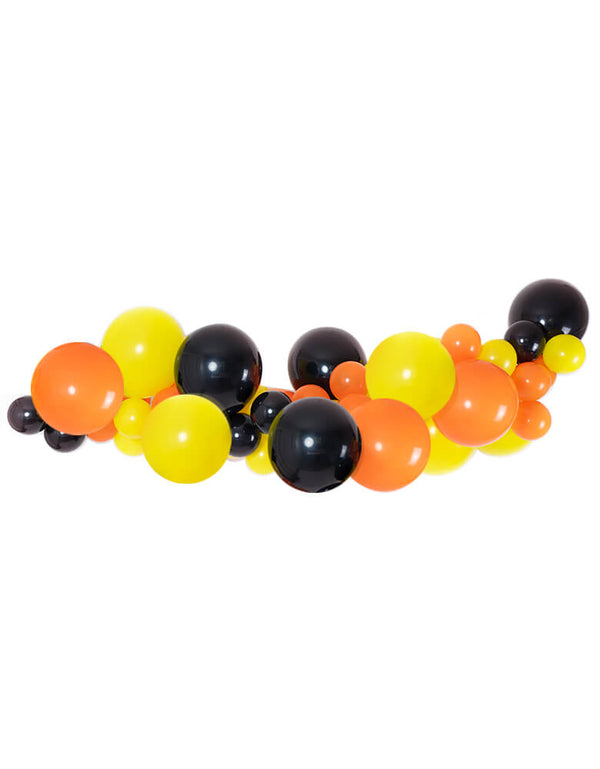 "Dig In Construction theme Orange Black Yellow Balloon Garland. ssorted 11"" (large) & 5"" (small) construction-themed latex balloons in black, orange and yellow. Made in USA. Balloon Decoration, backdrop, balloon garland for Dig in birthday party,  Construccion birthday party, Truck themed birthday party"
