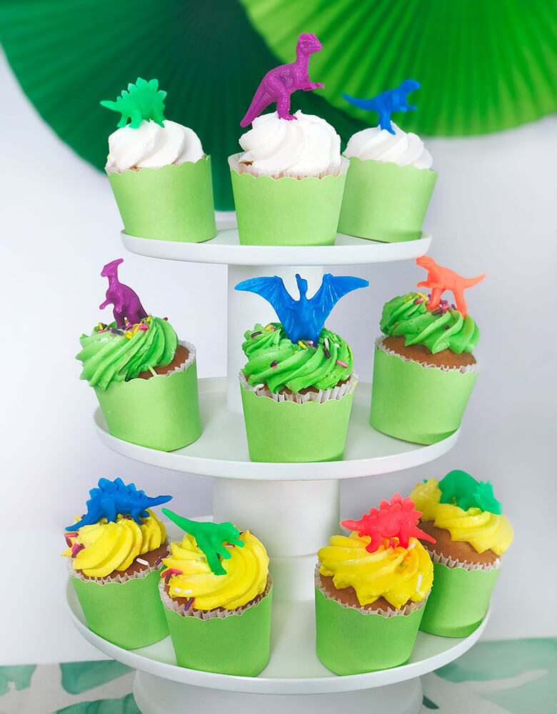 Neon mini dino figures cupcake topper