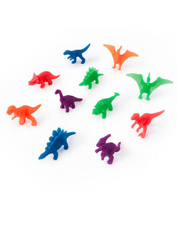 Neon mini dino figures toys and cupcake topper