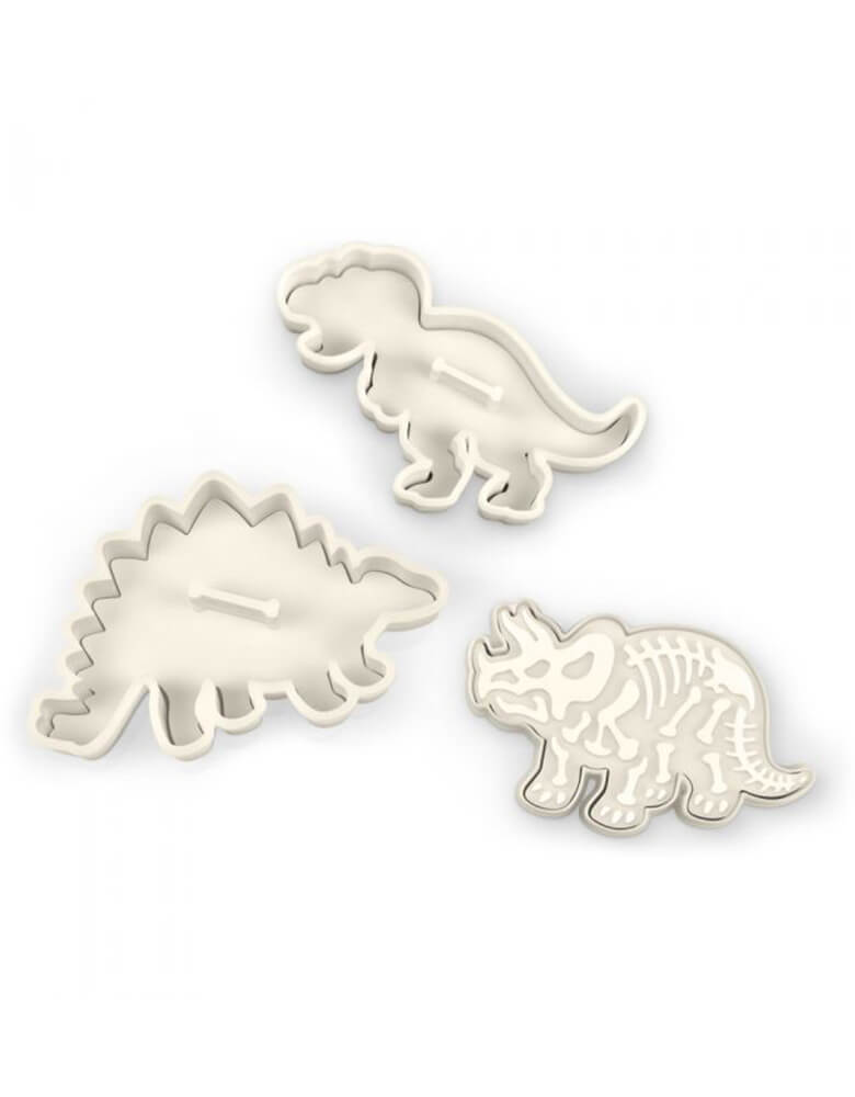 Fred DIG-INS Dinosaur Fossil Cookie Cutter/Stampers, Set of 3 different dinosaurs in each package, Dishwasher safe,  PVC-fee and BPH-free