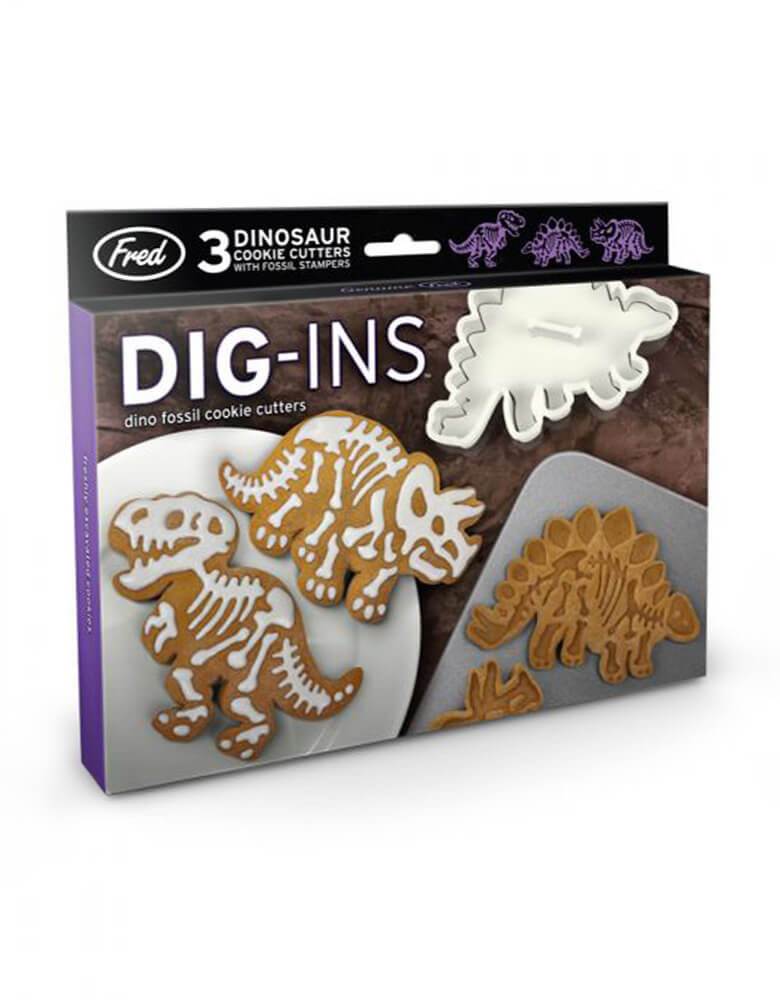 Fred DIG-INS Dinosaur Fossil Cookie Cutter/Stampers, Set of 3 different dinosaurs in each package, Dishwasher safe,  PVC-fee and BPH-free, these are prehistoric party perfection, dino cookies making tools, and dinosaur birthday party gift idea