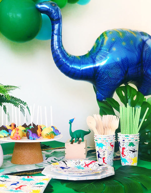 Modern Dinosaur party with Giant Blue Apatosaurus Mylar Balloon