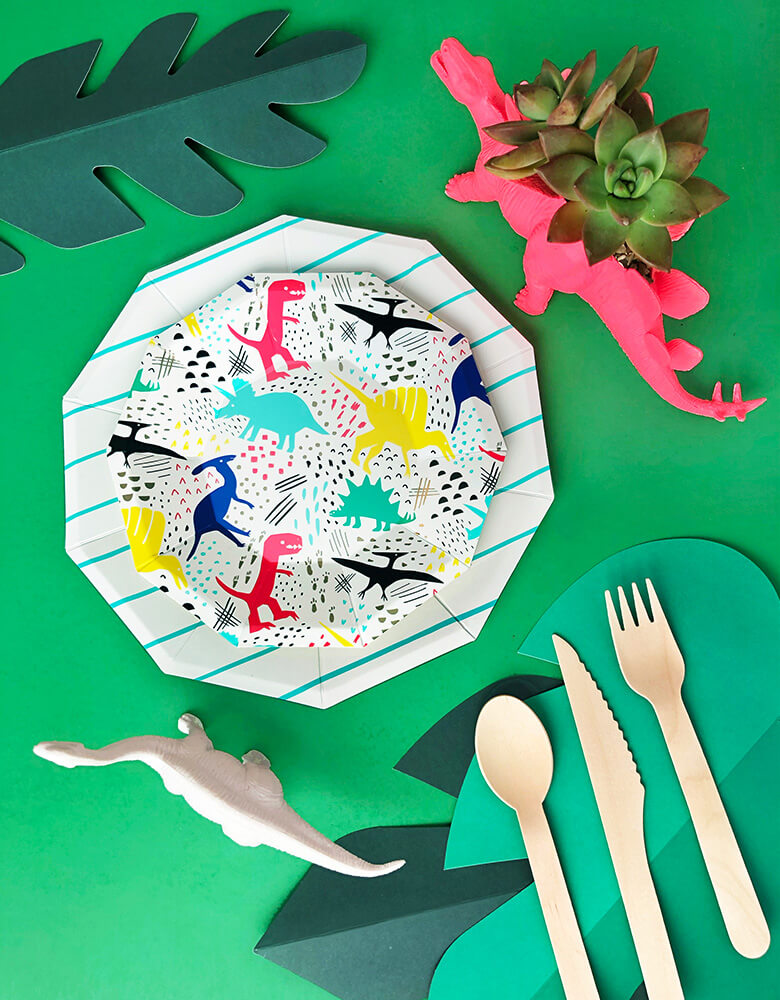 modern Dinosaur party tableware with neon dinosaur planter