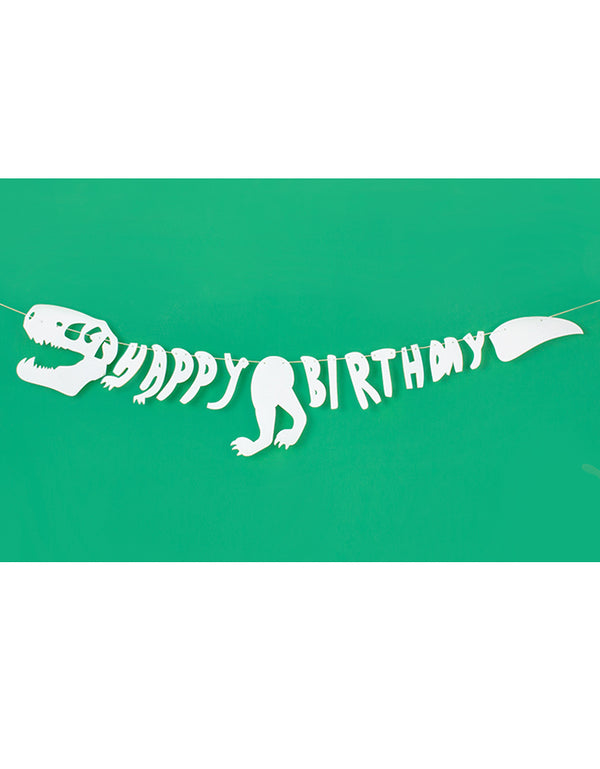 Dinosaure Happy Birthday White Felt Garland