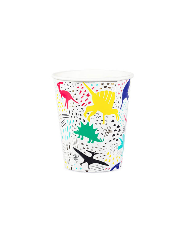 colorful dinosaur paper cups
