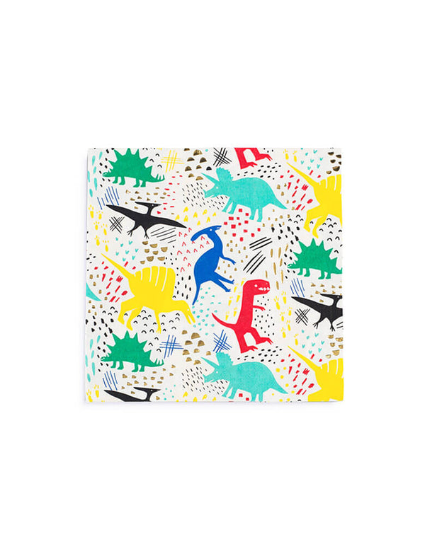 colorful dinosaur party paper napkins