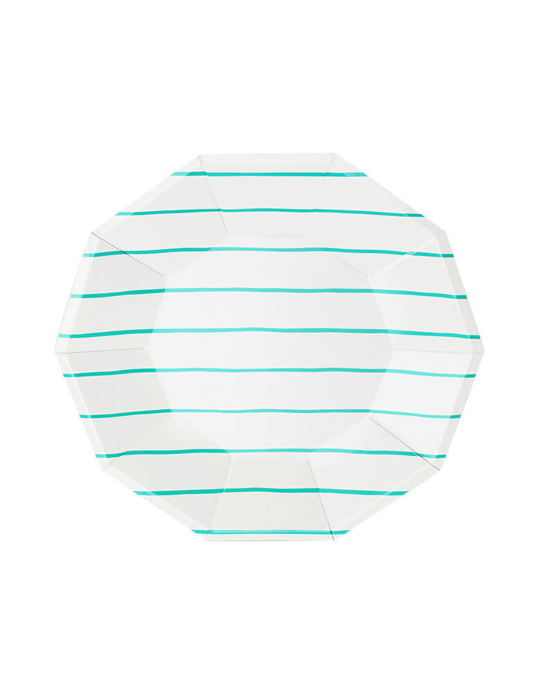 frenchie striped large plates - Mint color