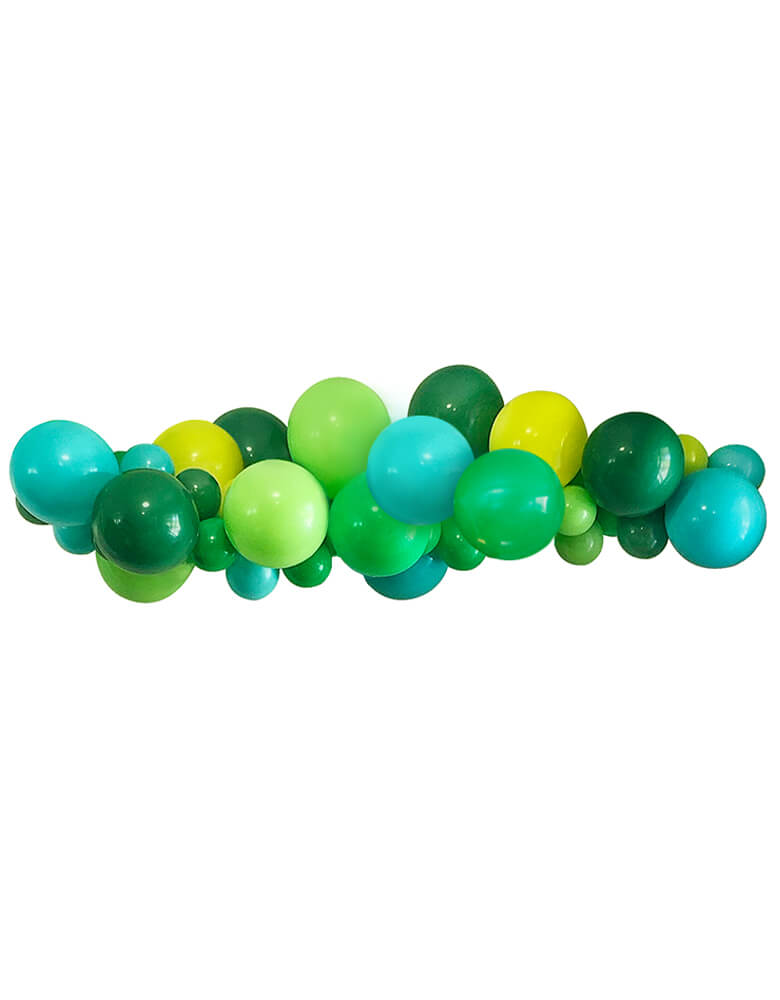 Modern Dinomite Balloon Garland with dark green, blue, mint, yellow latex balloons