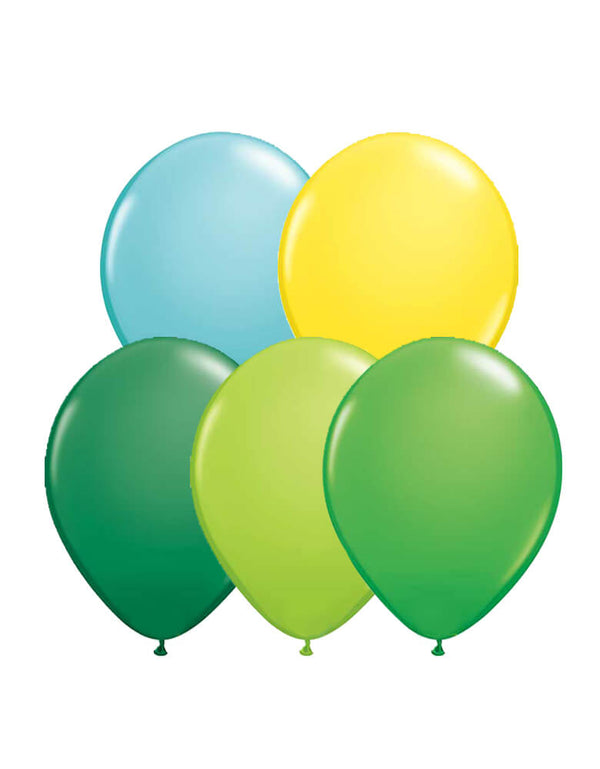 Set of 12 Qualatex Latex Balloon Mix including 3 of each green and spring green balloons, plus 2 of each lime green, yellow and Caribbean blue balloons
