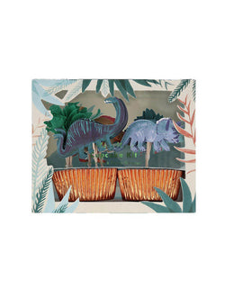 Meri Meri Dinosaur Kingdom Cupcake Kit featuring topper in the design of t-rex, Triceratops and paper palm trees, kit Pack come with 24 cases in 6 designs