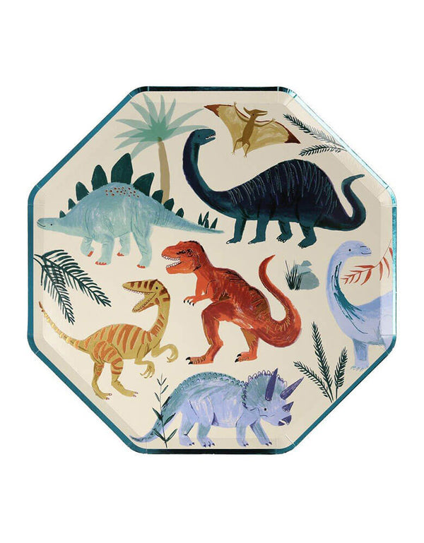 Meri Meri Dinosaur Kingdom Dinner Paper Plates featuring beautifully illustrated dinosaur designs, 10.25 x 10.25 inches, perfect eco-friendly tableware for kids dinosaur birthday party