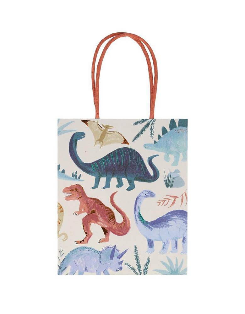 Meri Meri Dinosaur Kingdom Party Bags with twisted paper handles and beautifully illustrated dinosaur design, pack of 8