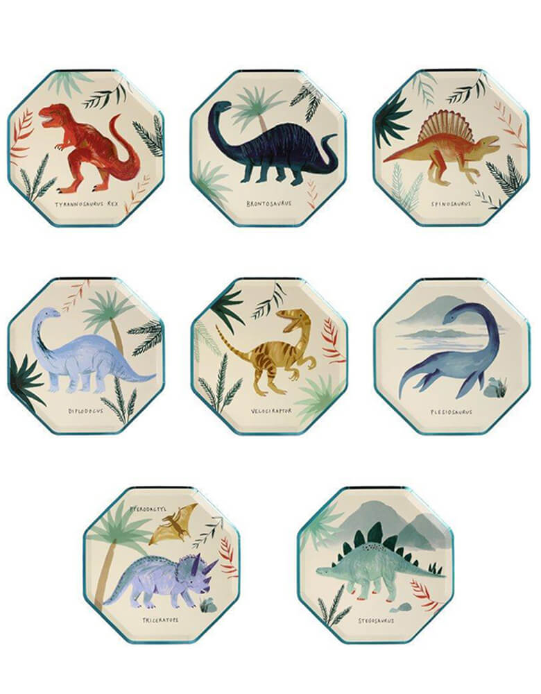 Meri Meri Dinosaur Kingdom Side Plates featuring 8 different designs of famous dinosaurs, prefect eco-friednly tableware for modern dinosaur party celebration