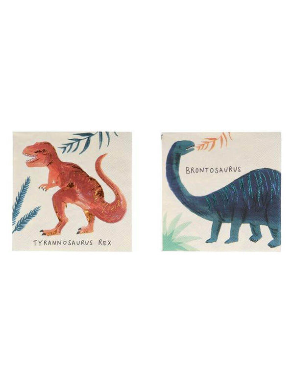 "Meri Meri Dinosaur Kingdom 5"" Small Napkins features a beautiful illustrations of a famous dinosaur, Pack of 16 in 8 designs, prefect for modern dinosaur party celebreation"