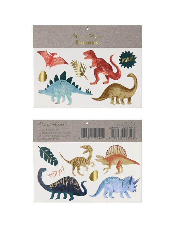 Meri Meri Dinosaur Kingdom Large Temporary Tattoos featuring t-rex, Stegosaurus, Triceratops, Brontosaurus, Spinosaurus, and palm leafs designs, great for kids birthday party goodie bag fillers
