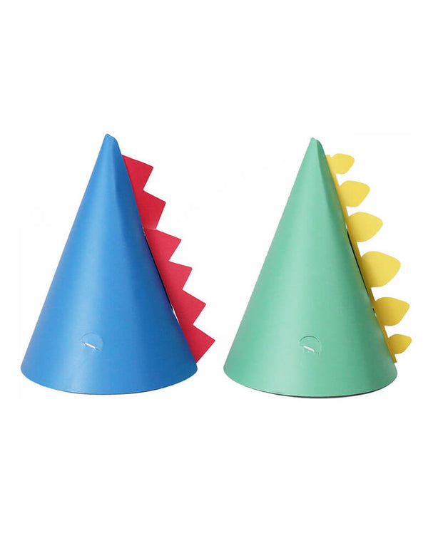 Merrilulu Dinosaur Party Hats with spikes in green and blue