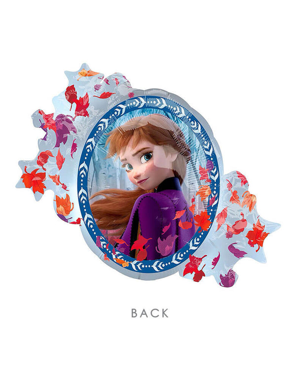 "30"" Anagram Disney Frozen 2 Elsa Anna Two Sided Foil Mylar Balloon with leaves around Anna"