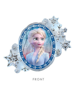 "30"" Anagram Disney Frozen 2 Elsa Anna Two Sides Foil Mylar Balloon with snowflakes around Elsa"