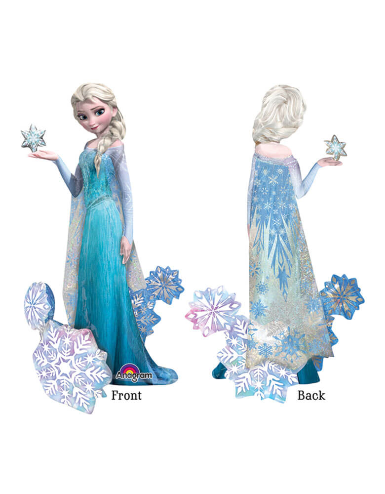 "57""_Anagram_Disney Frozen Elsa Airwalker Foil Balloon front and back demonstration"