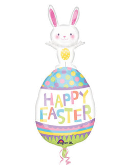 "Anagram 37"" Easter Bunny On Easter Egg  Foil Balloon written with Happy Easter"