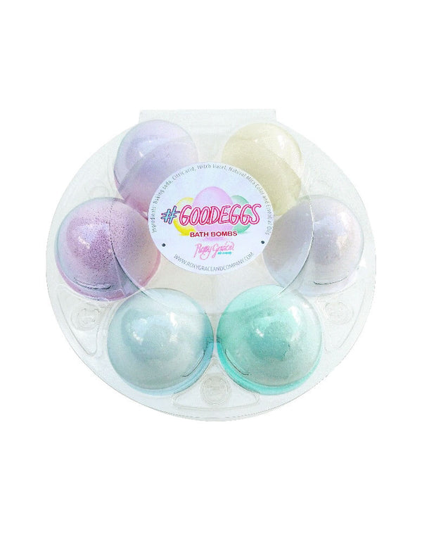 Roxy Grace - Easter Egg Bath Bombs. pack of 6. These Easter egg bath bombs come conveniently packaged by the half-dozen in a rainbow of pastels - ready to make your special someone's bath time come alive with colorful fun! Made with all natural ingredients including Therapeutic-grade Essential Oils, these bath bombs come adorably packaged in a clear, round 'egg crate' which makes perfect gift at your Easter celebration!