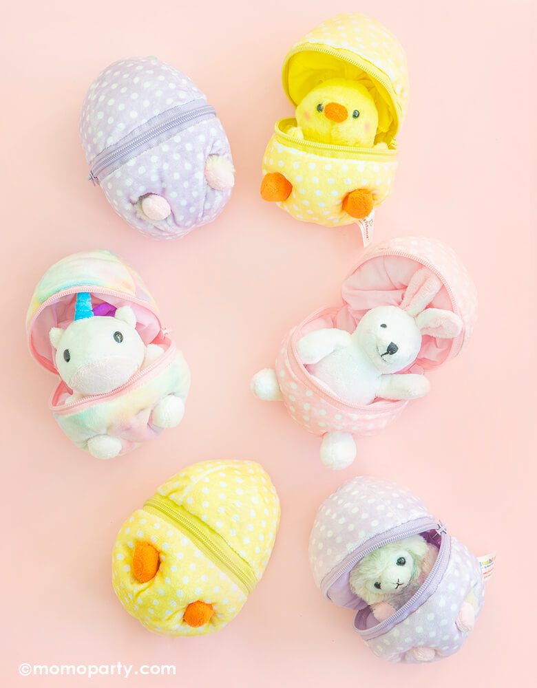 "Plushland Zip Up Easter Egg plush toys of white Bunny in a pink dots egg shape, yellow chick in a yellow white dots egg shape, pastel rainbow color llama in a pastel purple with white dots shape egg, unicorn in a patel rainbow color egg shape. These a cute animal hidden in a zip-open egg shape plush toy. At 6"" in size, it's lightweight and easy for your little one to play at home, in the car or on the go! super cute for easter basket, easter gift for kids, party favor, party gift"