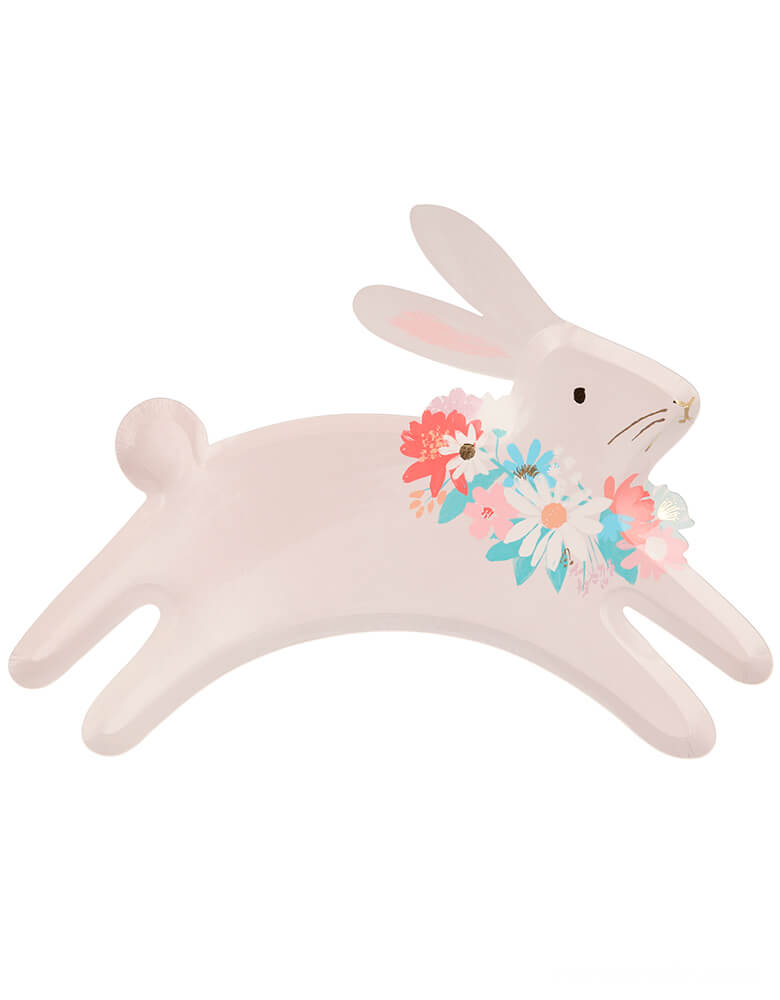 Meri Meri Spring Bunny Plates, pack of 8, Made from eco-friendly paper, they are beautifully crafted and illustrated in soft colors and accentuated with shimmering gold foil detail on the leaping bunny die cut shaped bunny wearing flowers Neck wreath . These adorable leaping bunny plates will look amazing on your Easter or springtime party table.