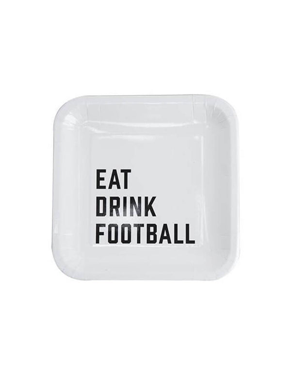 "Cakewalk 7"" round square Eat Drink Football Appetizer Plates in white with wording in black"