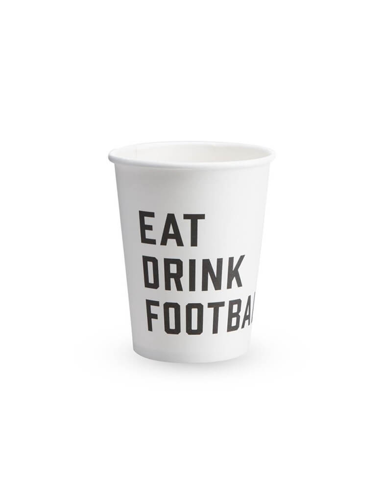 Cakewalk 9 oz Eat Drink Football Paper Cups in White with wordings in black - Set of 8