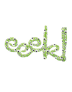 "37"" Green Eeek Script Foil Mylar Balloon with Spooking Eyes for Halloween"