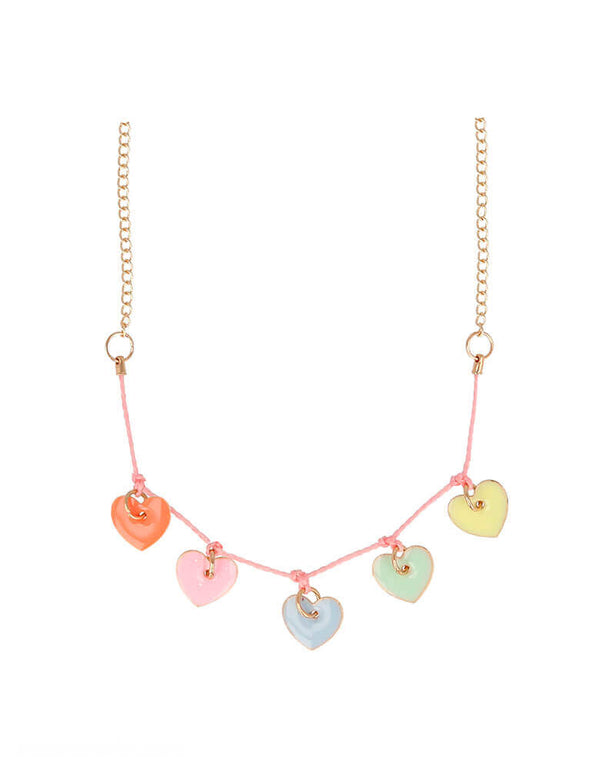 Meri Meri Enamel Hearts Necklace in 5 pastel colors