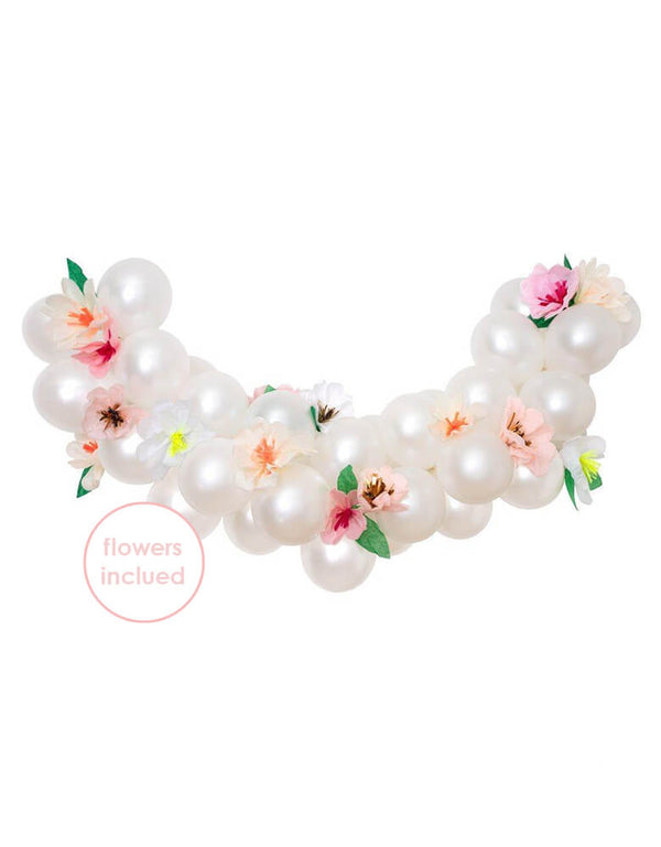 Meri Meri Floral Balloon Garland Kit. The set contains 40 metallic pearl balloons and 16 paper flowers - 8 large and 8 small. The flowers are crafted from pink, peach, yellow and white tissue paper with golden foil centers.
