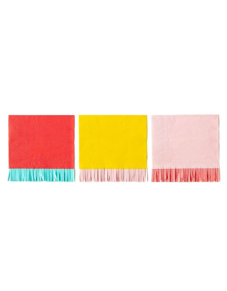 My Mind Eye Hip Hip Hooray Fringe Small Napkins in 3 colors of red, yellow and pink