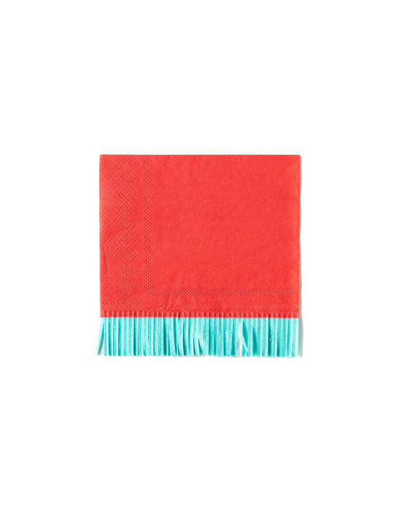 My Mind Eye Hip Hip Hooray Fringe Small Napkins in red and mint colors
