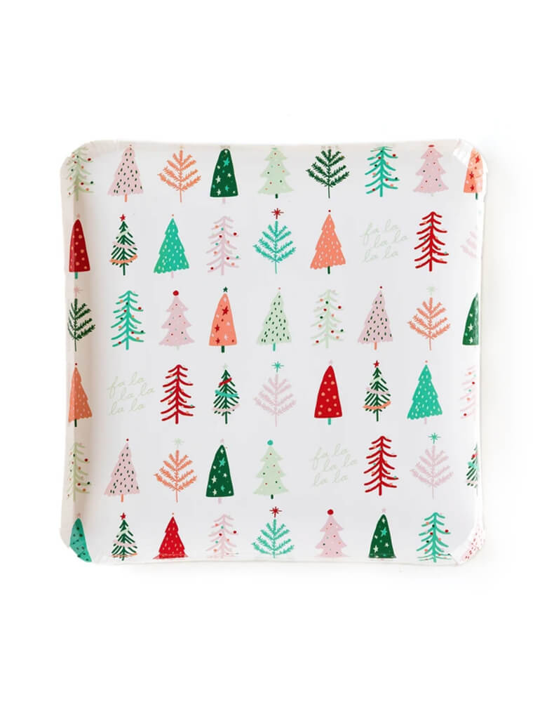 My Minds Eye 9 inch Fa La La Christmas Trees Plates, feathering a clean square shape design with whimsical tree pattern on it.
