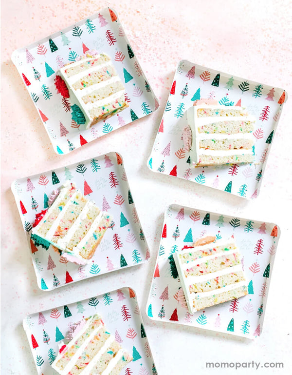 Christmas table lay sides cakes on top of My Minds Eye 9 inch Fa La La Christmas Trees Plates. these cute plates feathering a clean square shape design with whimsical tree pattern on it. perfect for a elegant modern christmas party