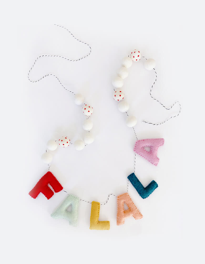 Little Olive Blue Fa La La Felt Holiday Garland. hand made in festive colors of red, green, orange, peach for your Christmas home decorations, holiday kid room decoration, bookshelf decorations, nursery room decoration