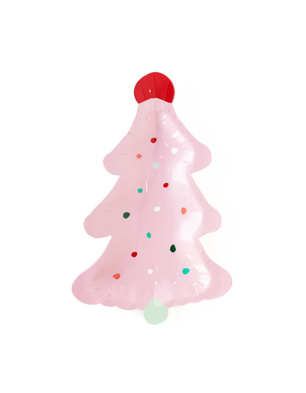 "My Minds Eye 9"" Fa La La Pink Frosting Christmas Tree Plates by Oui Party,  feature a unique Christmas tree die cut shape with pastel pink tree color"