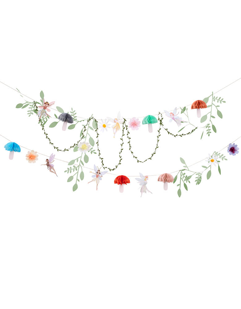 Meri Meri Fairy Garland. This 10' long garland features fairies, flowers, leaves and funghi, with lots of sensational embellishments. The flowers have sweet tissue paper tassels and pompoms, fairies have gorgeous iridescent threads in their skirts for a glittering look, The funghi have honeycomb detail for a 3D effect A fabric leaf ribbon adds extra style Lots of shimmering gold foil detail for a delightful effect. This beautiful garland will make a fairy or princess party look extra special.