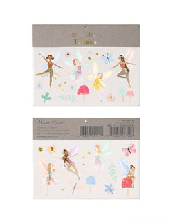 Meri Meri Fairy Large Tattoos. Featuring fairies, funghi, a butterfly, a dragonfly, leaves, flowers and stars, they are beautifully illustrated and will look so adorable on your little ones! These temporary tattoos are perfect for a fairy party craft activity, or to pop into party bags on a fairy party, garden party, tea party, princess party or any girl themed parties
