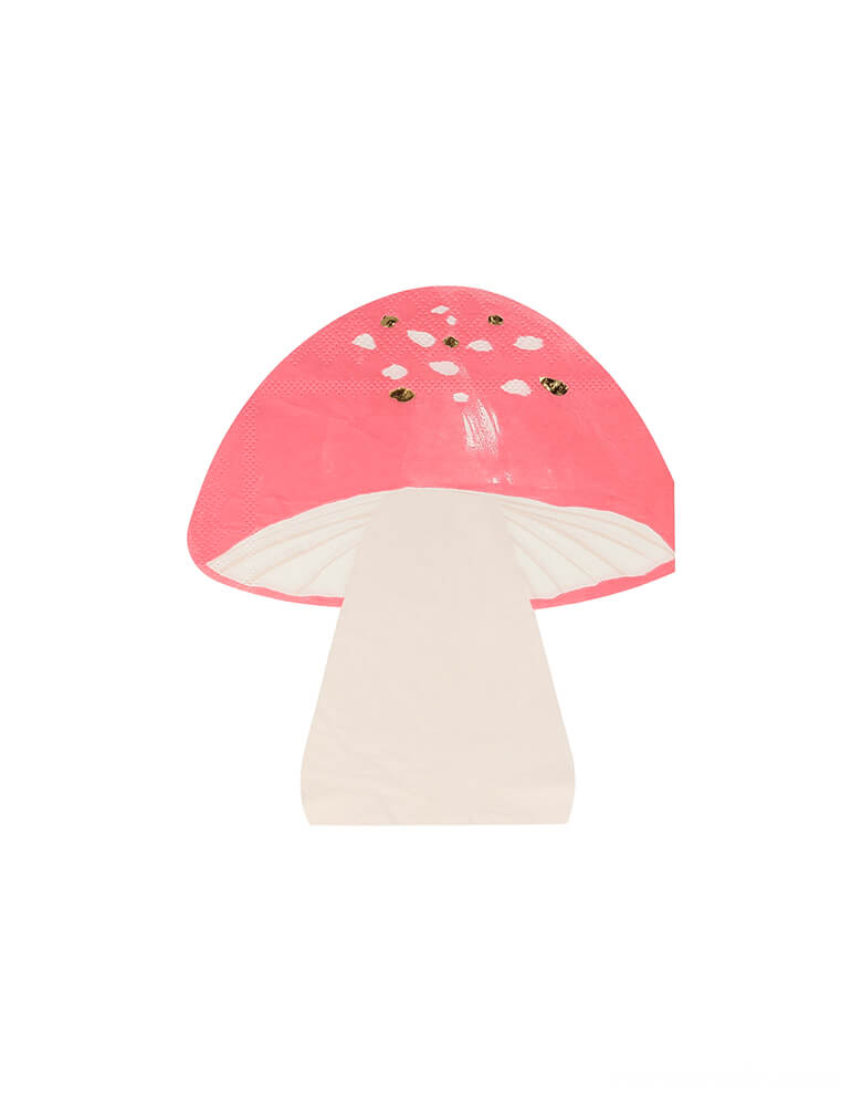 Meri Meri Fairy Toadstool Napkins. Set of 16. Featuring the shape of a magical toadstool with foil details. dd style to your fairy or woodland themed party with these fabulous napkins