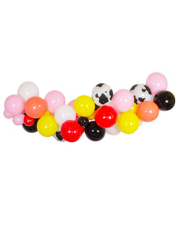 Barnyard Farm Balloon Garland with red, yellow, pink, white, black and cow printed latex balloons
