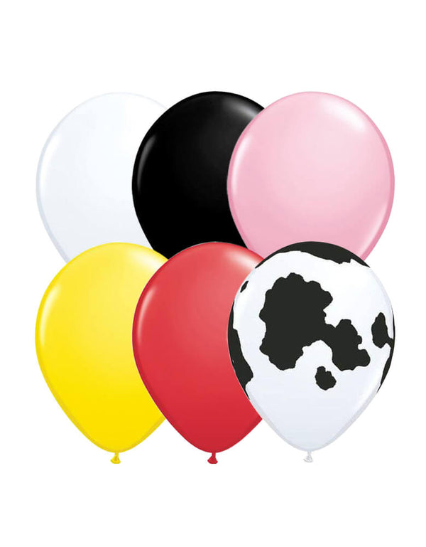 Latex balloon mix with 11inch Latex balloon in black, white, pink, red, yellow colors and cow print for a Farm animal themed birthday party celebration