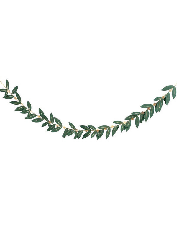 "Meri Meri 8"" Festive Foliage Garland pre-strung with gold metallic cord for a Christmas celebration at home"