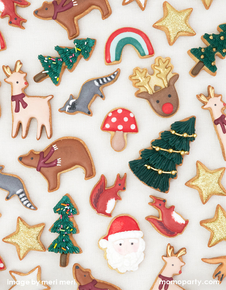 Holiday festive cookies with santa, Christmas tree, star, reindeer, racoon, mushroom, squirrels and more
