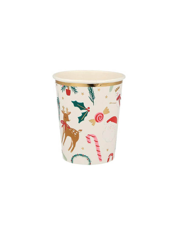 Meri Meri 9 oz Festive Motif Cups featuring Christmas icons including reindeer, candy cane, holly, snowman and wreath