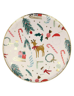 Meri Meri 10.25 inches Festive Motif Dinner Plates with Iconic Christmas elements including candy cane, Santa, wreath, snowman, Christmas tree, holly, and stockings