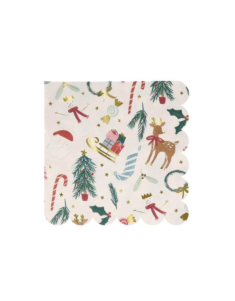 Meri Meri 6.5 inches Festive Motif large napkins with Iconic Christmas elements including candy cane, Santa, wreath, snowman, Christmas tree, holly, and stockings