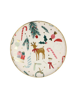Meri Meri 8.5 inches Festive Motif Side Plates featuring Christmas elements including candy cane, gifts, wreath, stocking, snowman, holly