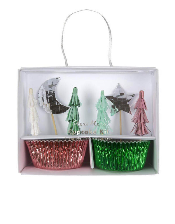 Meri Meri Festive-Tree-Cupcake-Kit featuring Christmas tree, moon and star toppers in pink silver and mint foil